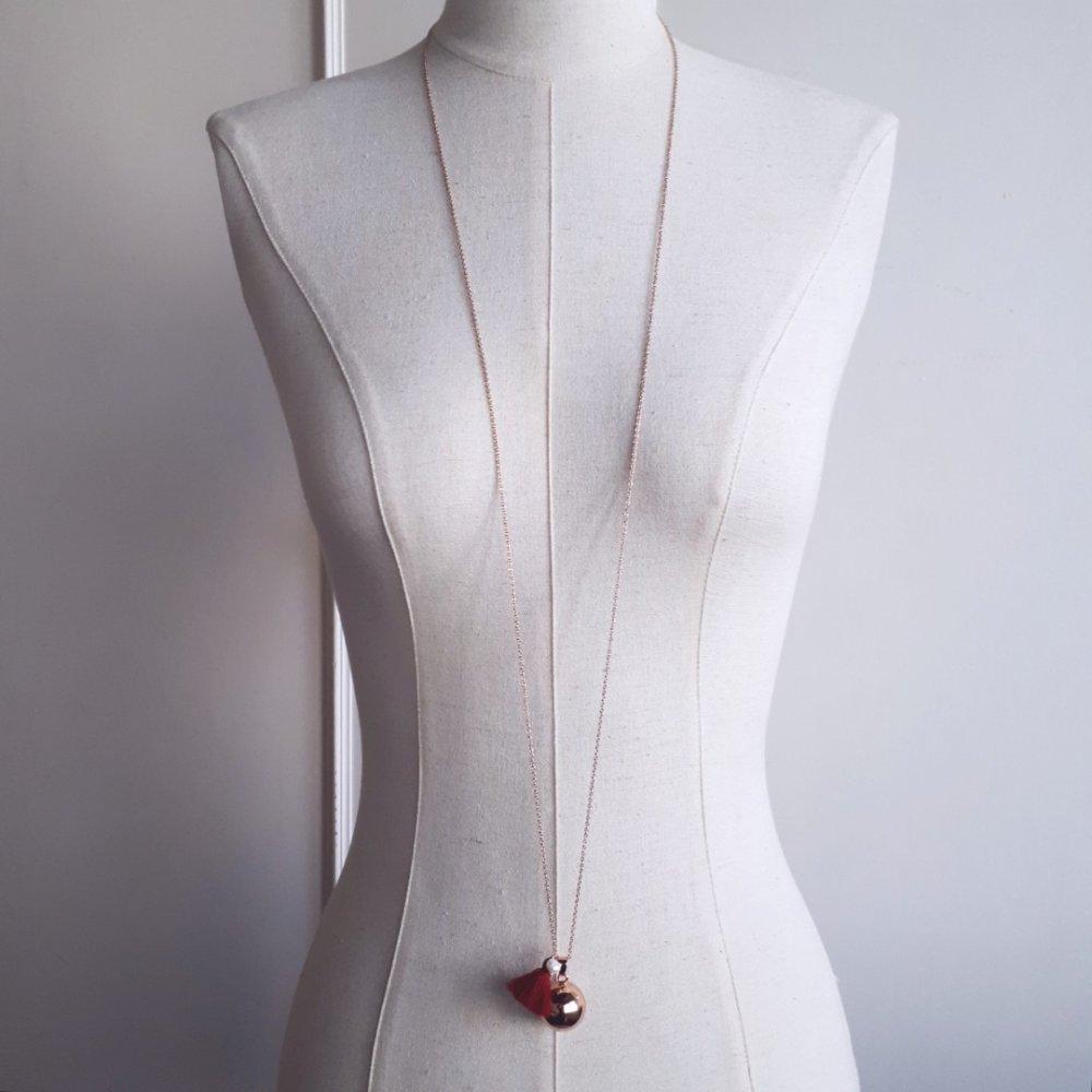 Lilou – Bola de grossesse plaqué Or rose 18K avec collier acier inoxydable hypoallergénique,Cadeau future maman,Bola personnalisable