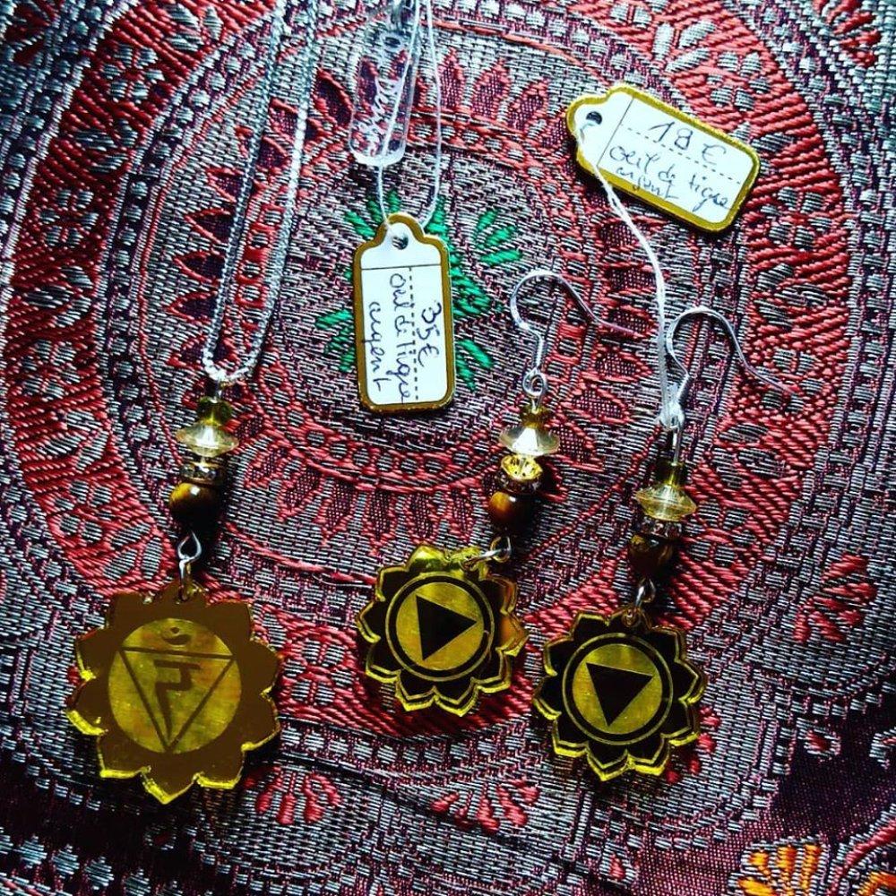 Parure Manipura *plexiglas, argent, oeil de tigre*