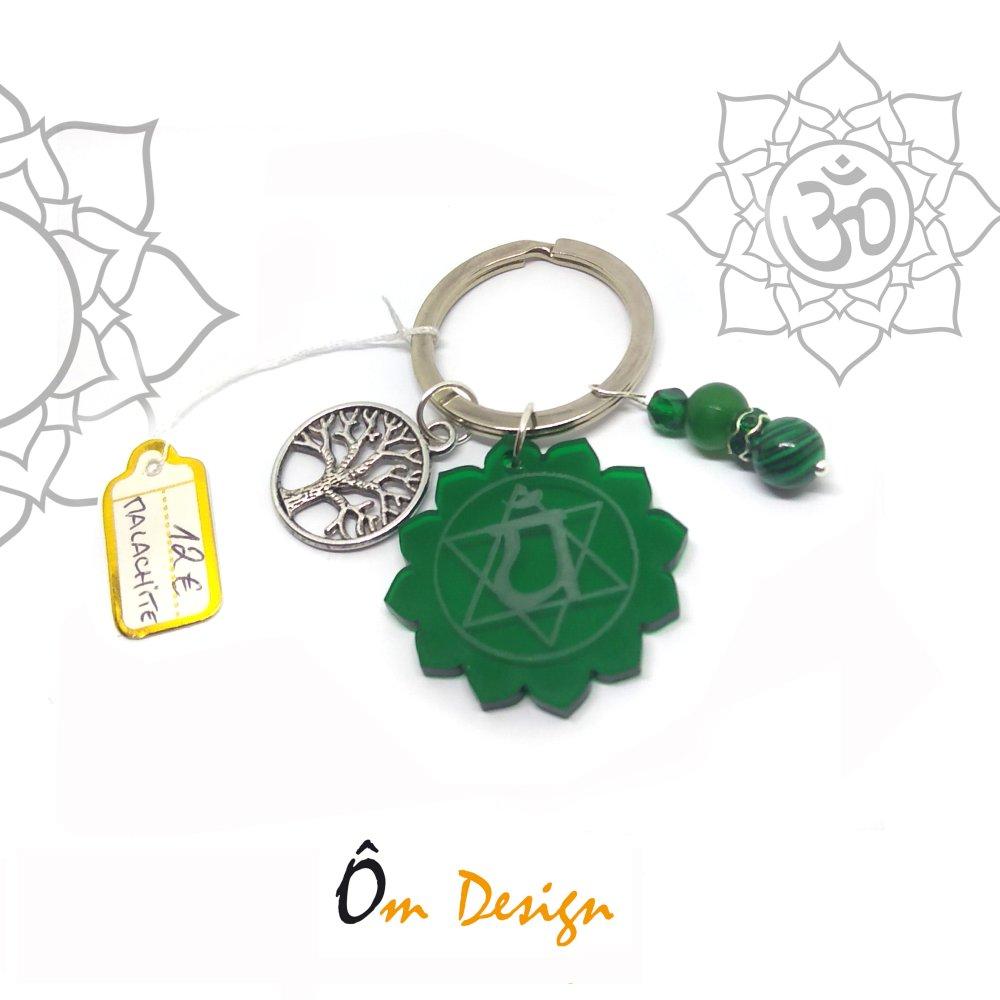 Porte clé Anahata* *plexiglas et malachite*