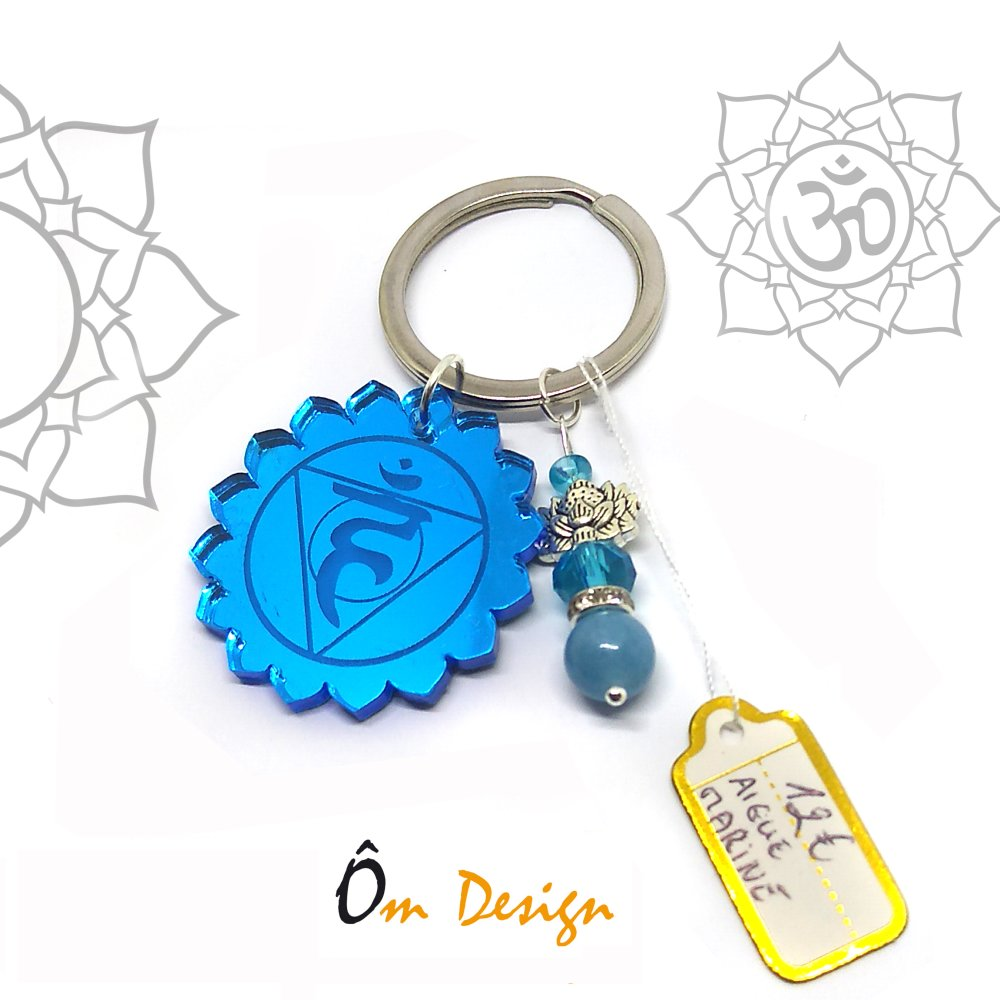 Porte clé Vishuddha* *plexiglas et aigue-marine*