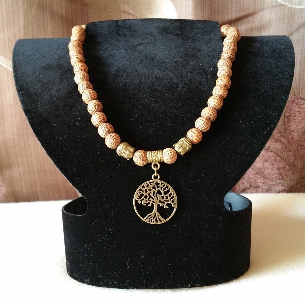 """Collier Omstore pendentif Petit modèle  """"Arbre de Vie Cercle"""" Bronze Antique"""