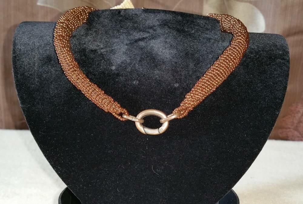 Victorian beads champagne/marron - Modèle unique