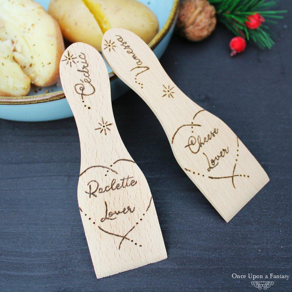 """Spatule à Raclette """"Raclette Lover"""" gravée à la main et personnalisable"""