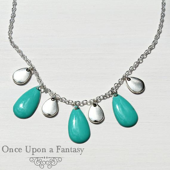 Collier gouttes turquoises émaillées - Once Upon a Fantasy