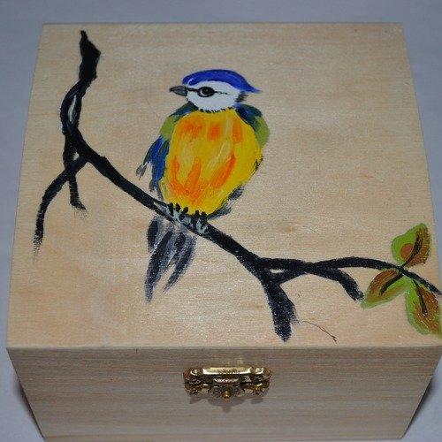 boite en bois pour bijoux avec aquarelle