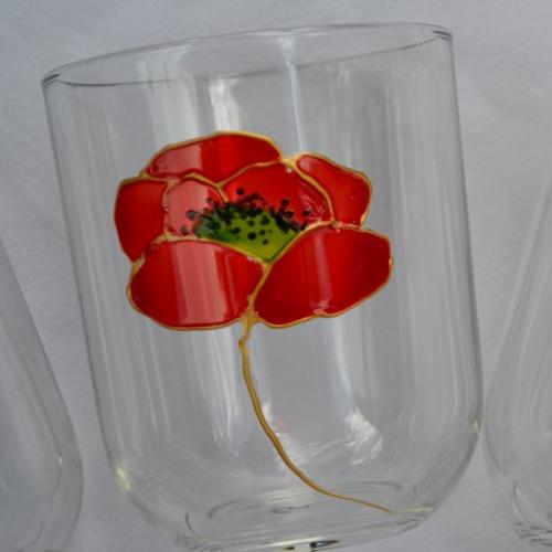 """6 verres peints """"coquelicots rouge et or"""""""