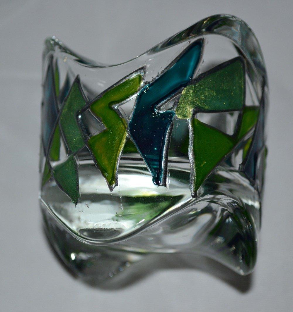 photophore en verre peint graphique vert et turquoise