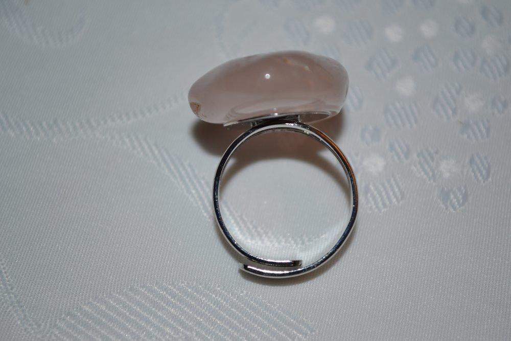 Bague en quartz rose, monture argentée réglable