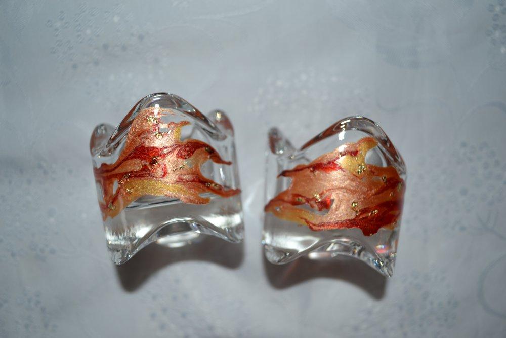 Lot 2 photophores en verre peints style Murano saumon et or