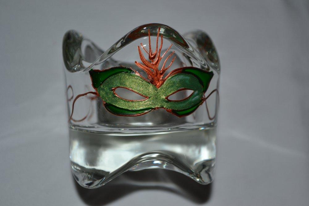 S/érie de 2 photophore en m/étal cuivr/é et verre