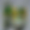 Photophore, bougeoir en verre ondulé peint graphique vert et jaune