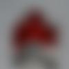 Photophore en verre peint style murano rouge et cuivre