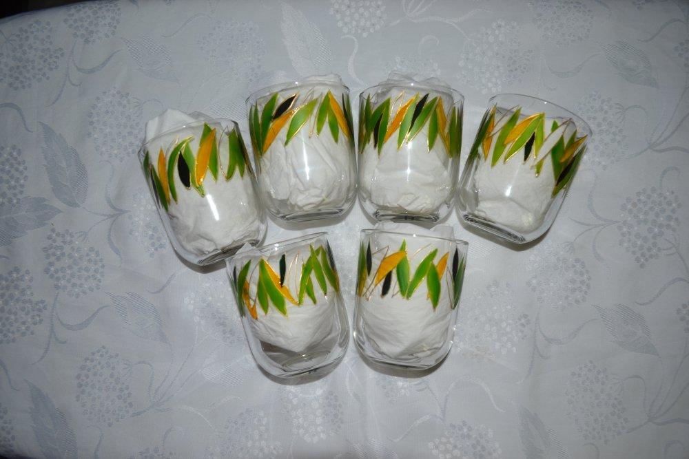 """6 verres peints """"feuilles vert et or"""""""