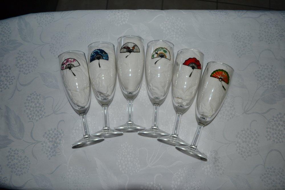 """6 flûtes à champagne peintes Japon """"éventails japonais"""""""