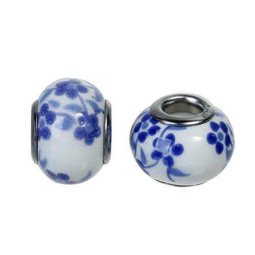 Perle européenne en céramique  avec noyau en acier inoxydable