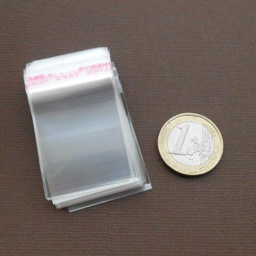 Lot de 50 sachets plastique 5 x 3 cm transparent  auto-adhésif