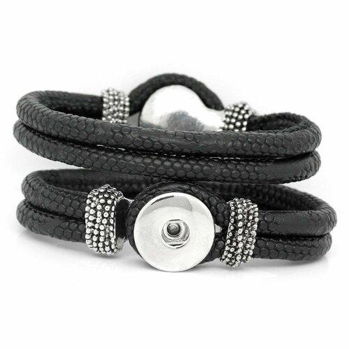 Bracelet double pour bouton pression noir et argent