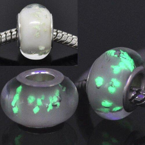Perle européenne lampwork verre lumineux  blanc