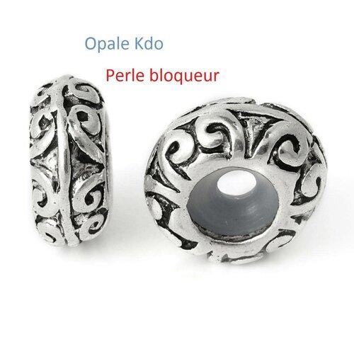 Lot de 2 perles bloqueur avec caoutchouc pour collier ou bracelet européen métal argenté vieilli