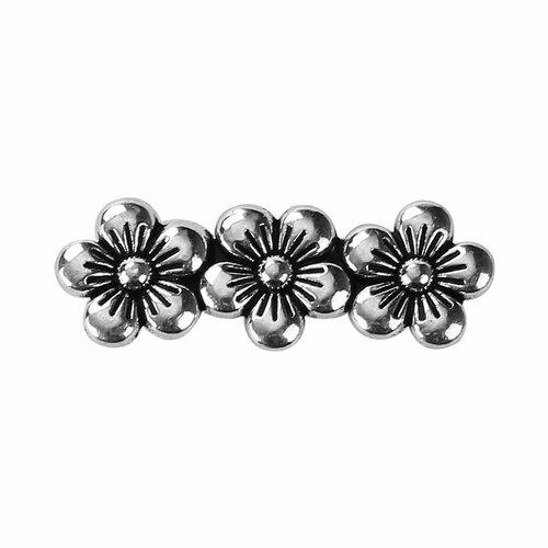 Lot de 6 perles fleurs 3 trous en métal argenté
