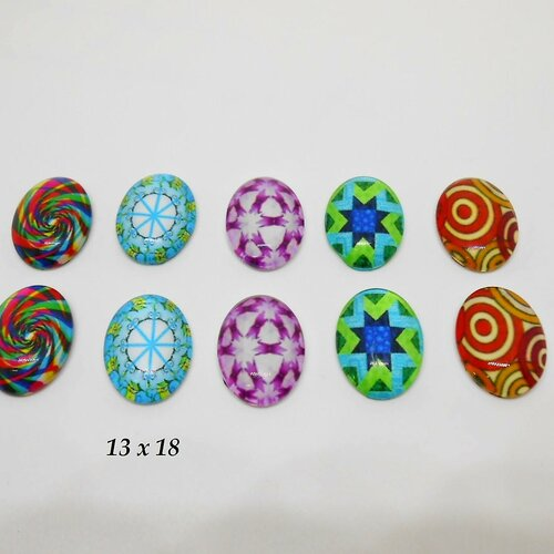 10 cabochons ovales 13 x 18 en verre à coller sur support lot 2