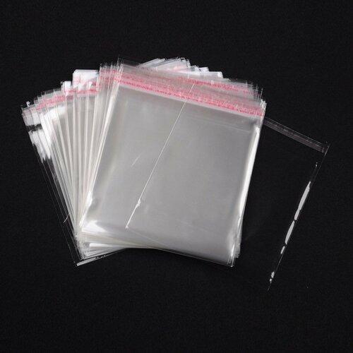 Lot de 50 sachets cristal 16 x 18 autocollants
