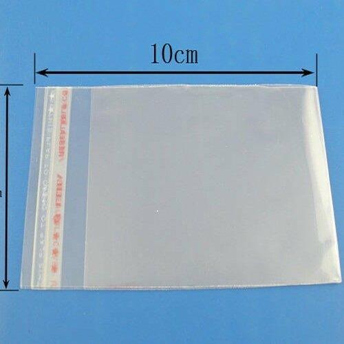 Lot de 50 sachets plastique 10 x 6 cm transparent  auto-adhésif