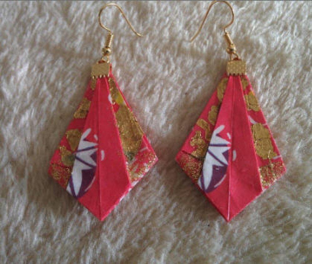 """Boucles d'oreilles """"Pointe diamant"""" en Origami (D_002)"""