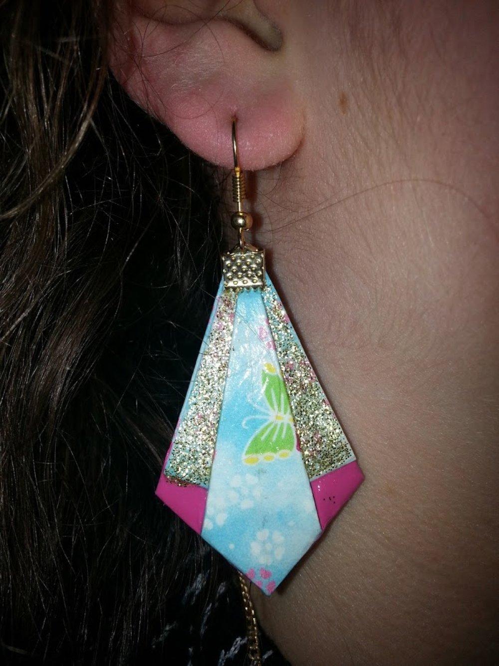 """Boucles d'oreilles """"Pointe diamant"""" en Origami (D_003)"""