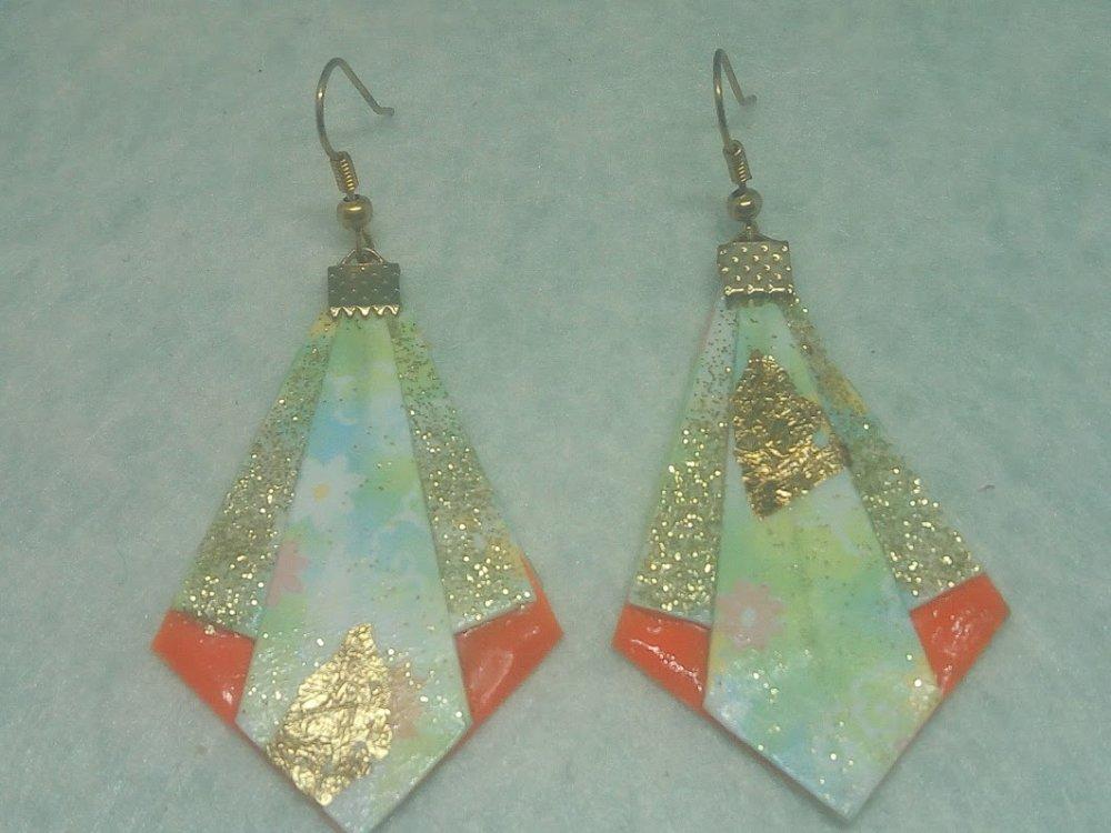 """Boucles d'oreilles """"Pointe diamant"""" en Origami (D_014)"""