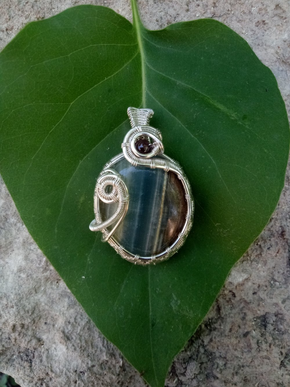 Pendentif Pierre Wire Wrapping Opale des Andes