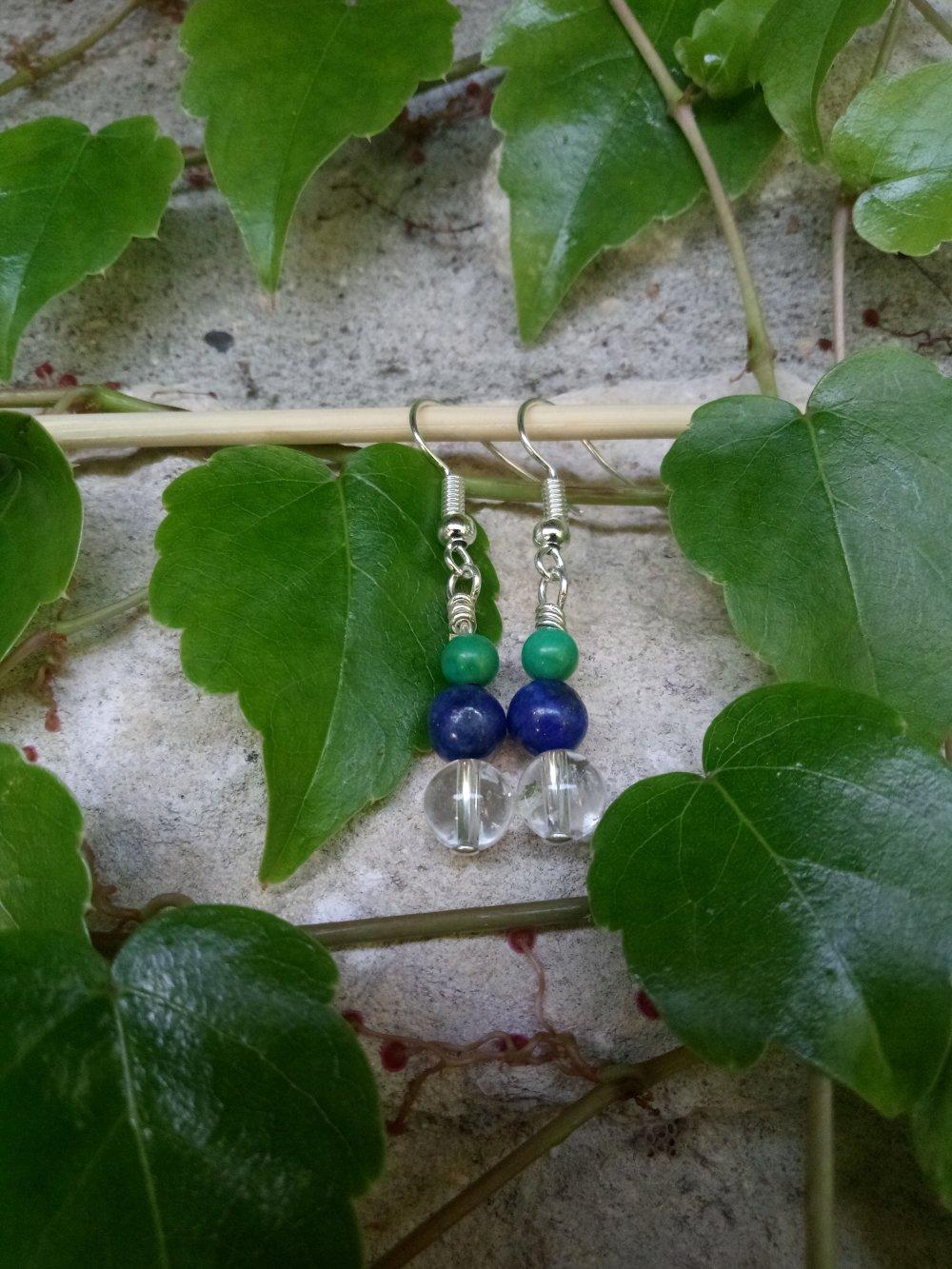 Boucles d'Oreilles Pierres Turquoise, Lapis Lazuli, Cristal de Roche