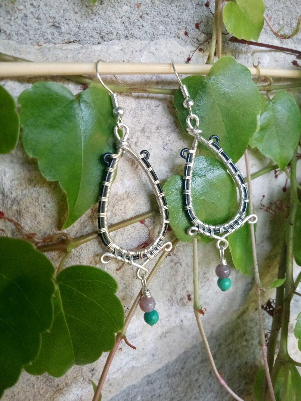 Boucles d'Oreilles Pierres Agate et Turquoise