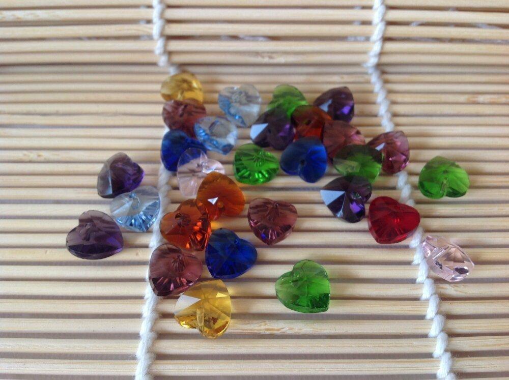 10 perles en verre transparentes coeur bicolores 10 mm