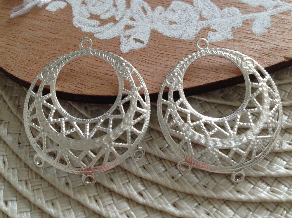 10 connecteurs pendentifs filigranes ronds boucles d'oreilles