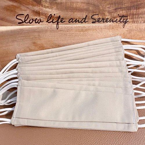 10 masques bio type afnor coton avec filtre inclus naturel bio source, lavables, élastiques doux, pince-nez, sable