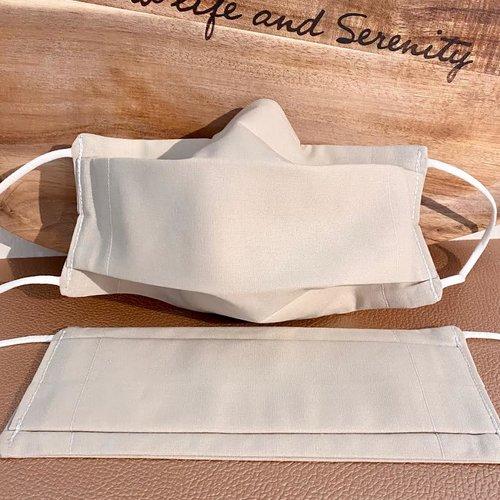 2 masques bio type afnor coton avec filtre inclus naturel bio source, lavable, élastique doux, pince-nez, *2, sable