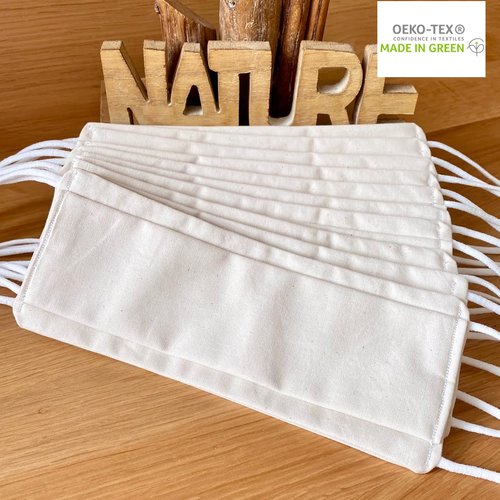 10 masques afnor uns 1 bio 100% coton, ecru naturel