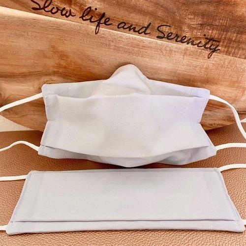 2 masques bio type afnor coton avec filtre inclus naturel bio source, lavable, élastique doux, pince-nez, *2, gris clair