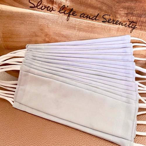 10 masques bio type afnor coton avec filtre inclus naturel bio source, lavable, élastique doux, pince-nez, *2, gris clair