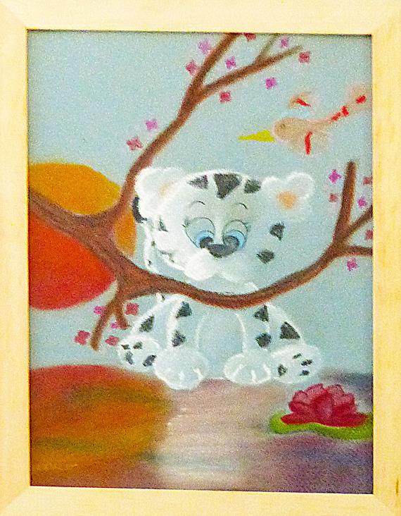 tableau chambre d'enfant , bébé tigre au bord d'un lac
