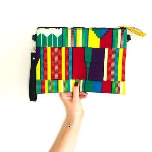 Sac wax pochette wax clutch tissu africain style inca, rouge, vert, jaune .