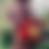 Sac à dos ethnique wax sac à dos femme en tissu africain rouge et jaune - sac à dos femme, idée cadeau de noël