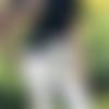 Sac hobo bohème avec bandoulière en tissu imprimé ethnique gris et bleu pour femme