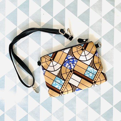 Sac bandoulière femme wax pochette clutch tissu africain beige géométrique