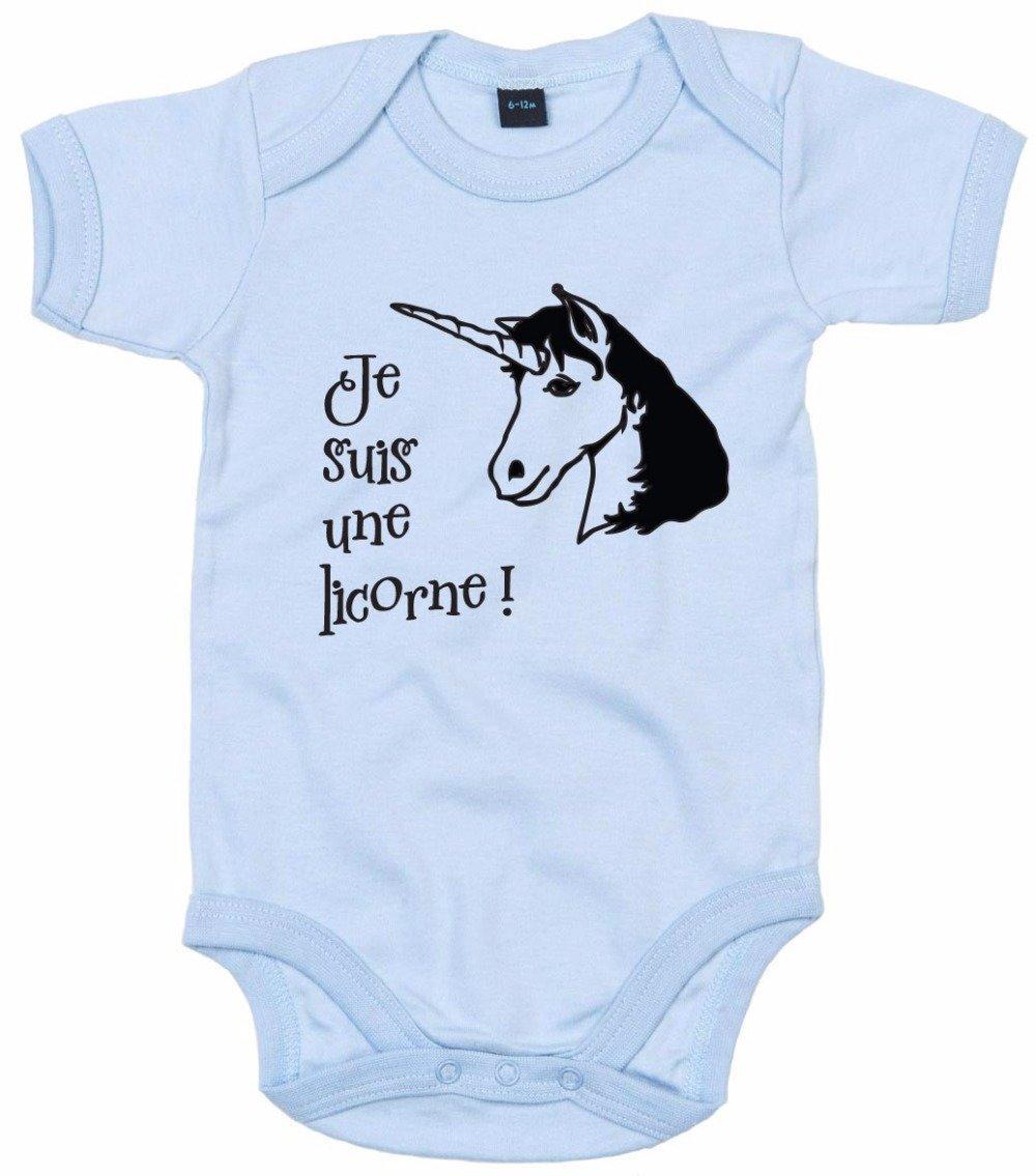 """Body bébé personnalisé """" je suis une licorne """""""