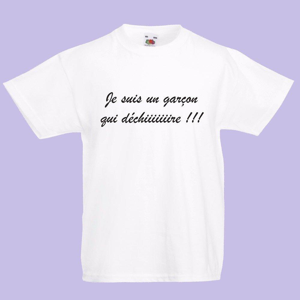 """T-shirt enfant humoristique / T-shirt enfant fantaisie """" je suis un garçon qui déchire """""""