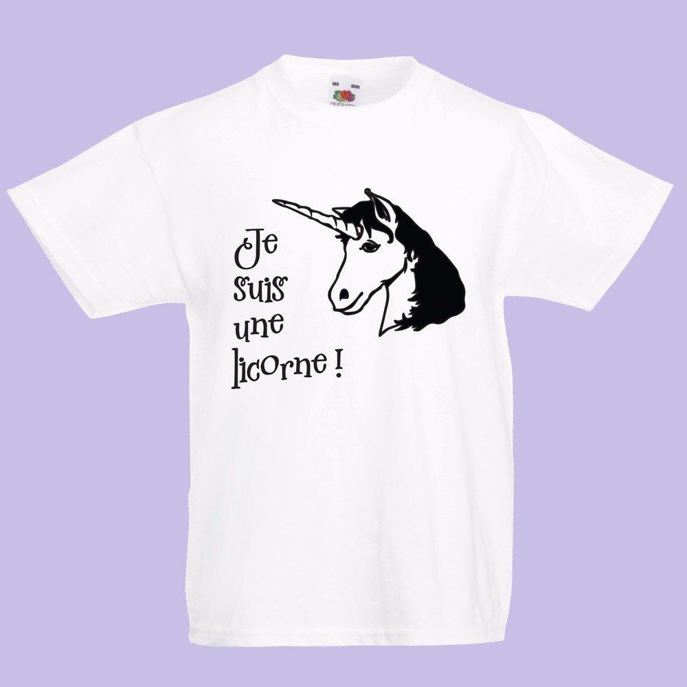 """T-shirt enfant humoristique / T-shirt enfant fantaisie """" je suis une licorne """""""