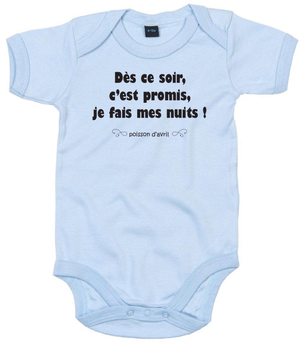"""Body bébé personnalisé """" bébé fait ses nuits - poisson d'avril """""""