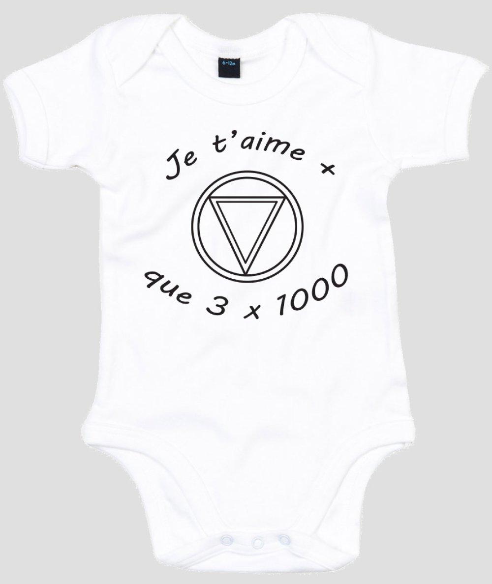 """Body bébé personnalisé """" papa je t'aime + que 3 x 1000 """""""